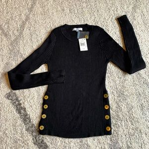 NWT Hooked Up Macy's Ribbed Black Sweater Button